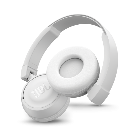 Casti audio on-ear cu microfon JBL T450, White